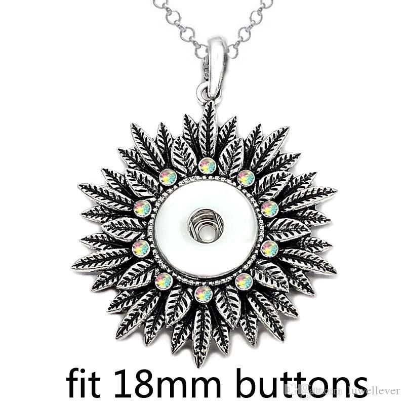 Fashion Interchangeable Metal Tree Ginger Crystal Necklace 261 Fit 18mm Snap Button Pendant Necklace Charm Jewelry For Women Gift
