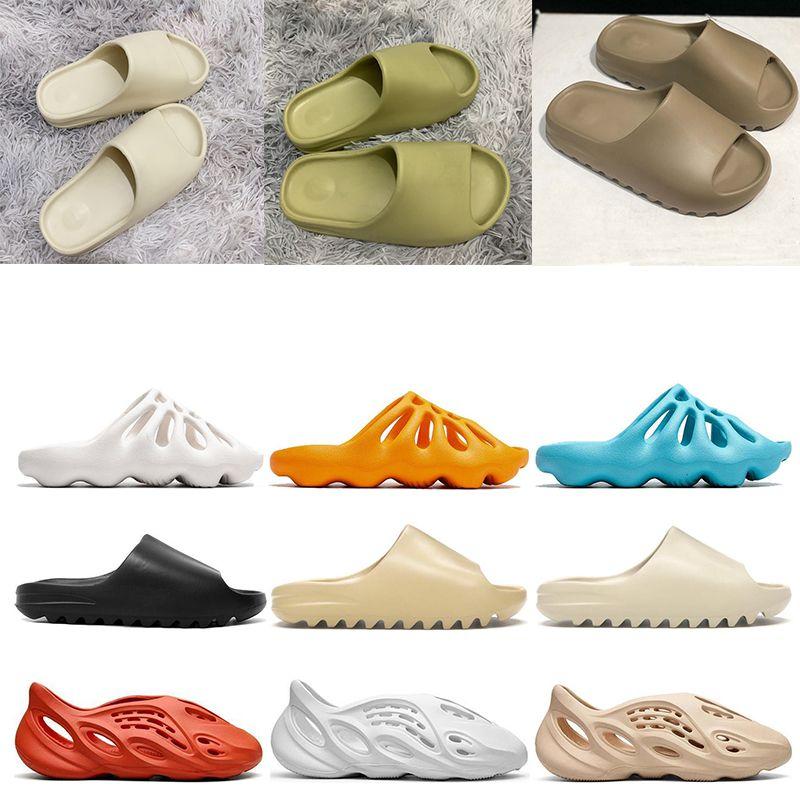 Adidas yeezy slides  mousse coureur kanye west obstruer sandales triple Noir diapositives mode pantoufle Femmes Hommes tainers designer plage sandales flip flops
