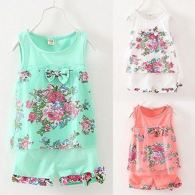 Новый летний красочный цветочный 2шт сладкий ребенок дети девушки цветок жилет топы футболка+короткие брюки тюль Детская одежда наряд набор