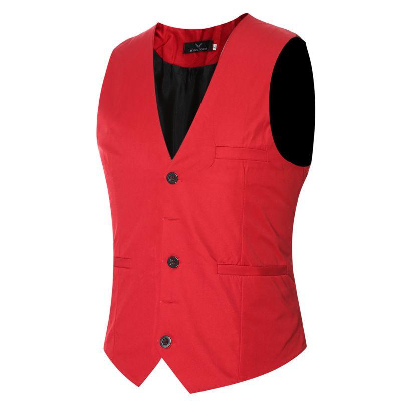 Sonbahar ve kış yeni erkek elbise yelek Ince tek göğüslü düz renk büyük boy yelek düğün yelek erkek