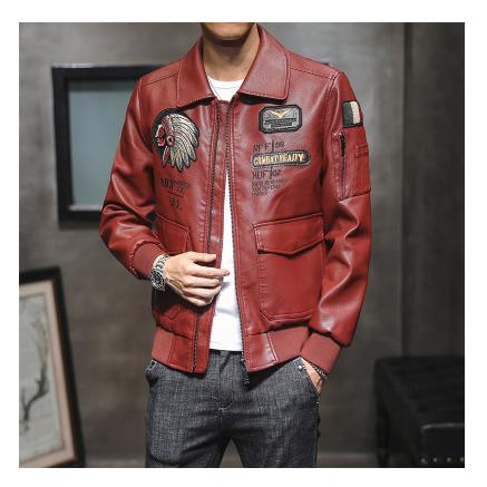 Männer PU-Lederjacke 2020 neuer Art-Mann-beiläufige Stickerei Außen Langarm-Jacken-Qualitäts-Art- Herbst Männlich Kleidung