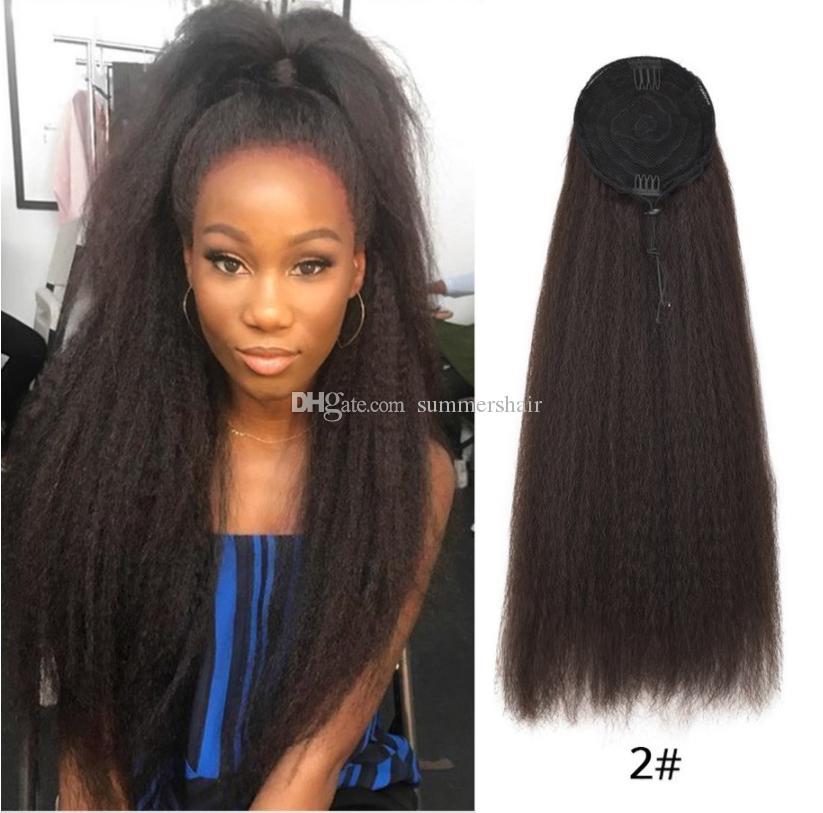 Kinky droite Ponytail synthétique cordon de serrage clip cheveux Extensions Couleur naturelle non Remy Poil Tai