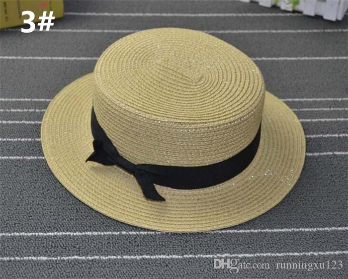 5ea81209c81d6 ... Man Women Straw Hat Summer Beach Hats Children And Adult Size Flat Top  Straw Hat Men ...