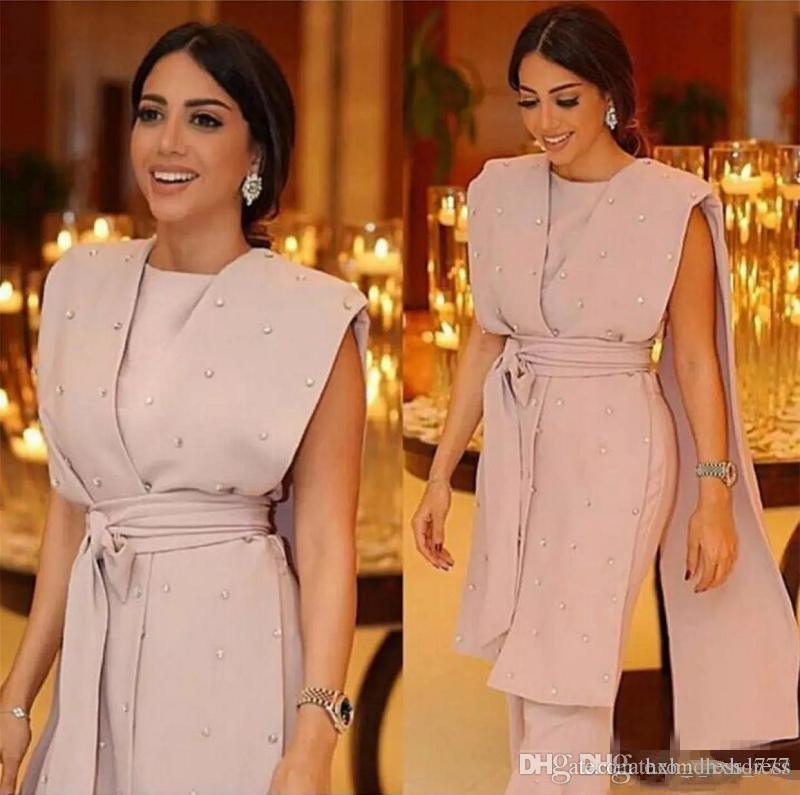 2019 New Formal Pink Evening Dresses Sleeveless Cape Beaded Sashes Jumpsuit Pearls Beaded Modern Arabic Dubai Formal Suit Party Prom Gowns