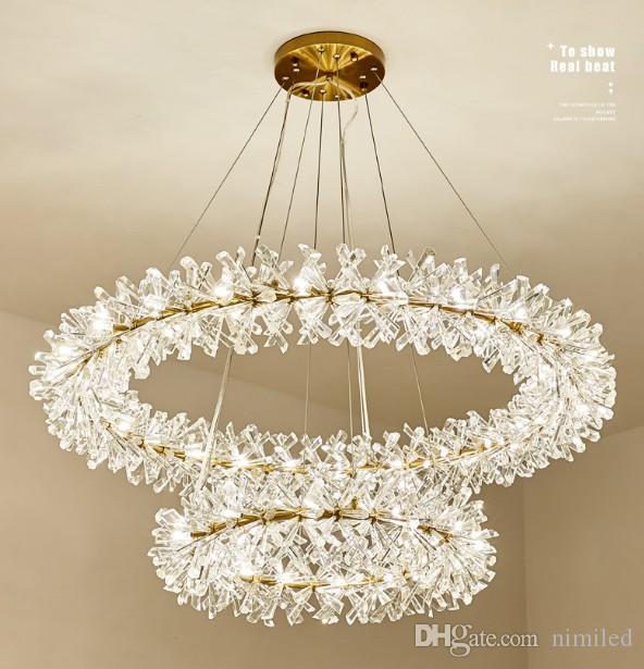 مصابيح قلادة حلقة الثريا الحديثة أضواء فاخرة كريستال لامبارا Colgante لغرفة المعيشة فندق فوير كريستال مصباح بريق LLFA