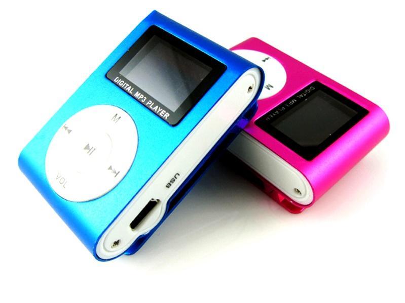 Bunte Mini-Clip-Digital-MP3 mit LCD-Schirm-Unterstützung Micro SD-TF-Karte mit Kopfhörer Kopfhörer USB-Kabel Kleinkasten Musik-Player