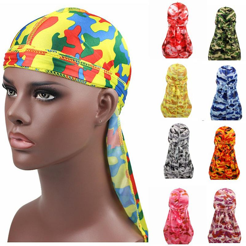 Miltary Camouflage Silky Durag Hot New Colorful Premium 360 Waves Long Tail Silky Durags Hiphop Caps for Men and Women High Quality Du-rag