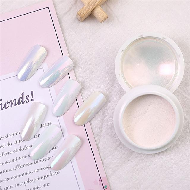 Beauté Santé 7 couleurs poudre de perle poussière blanche Art Déco Nail Art Tip Set bricolage effet miroir Conseils ongles