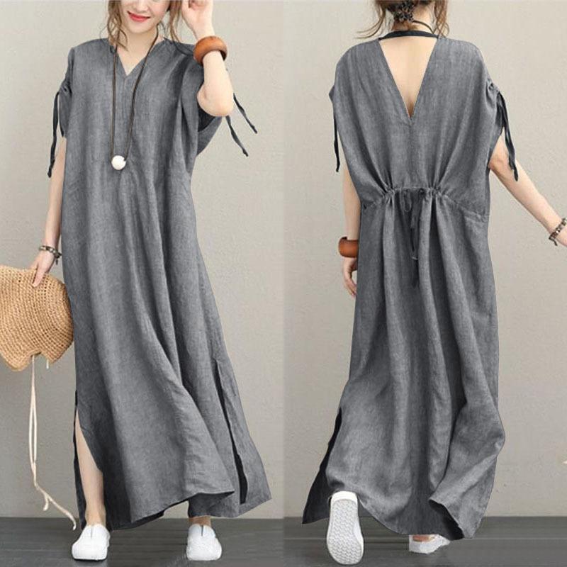 Zanzea 2019 Summer Fashion Split Party Summer Dress Women Casual Solide Long Maxi Dress Women V -excerpt Short Lose Vestidos Y19071101