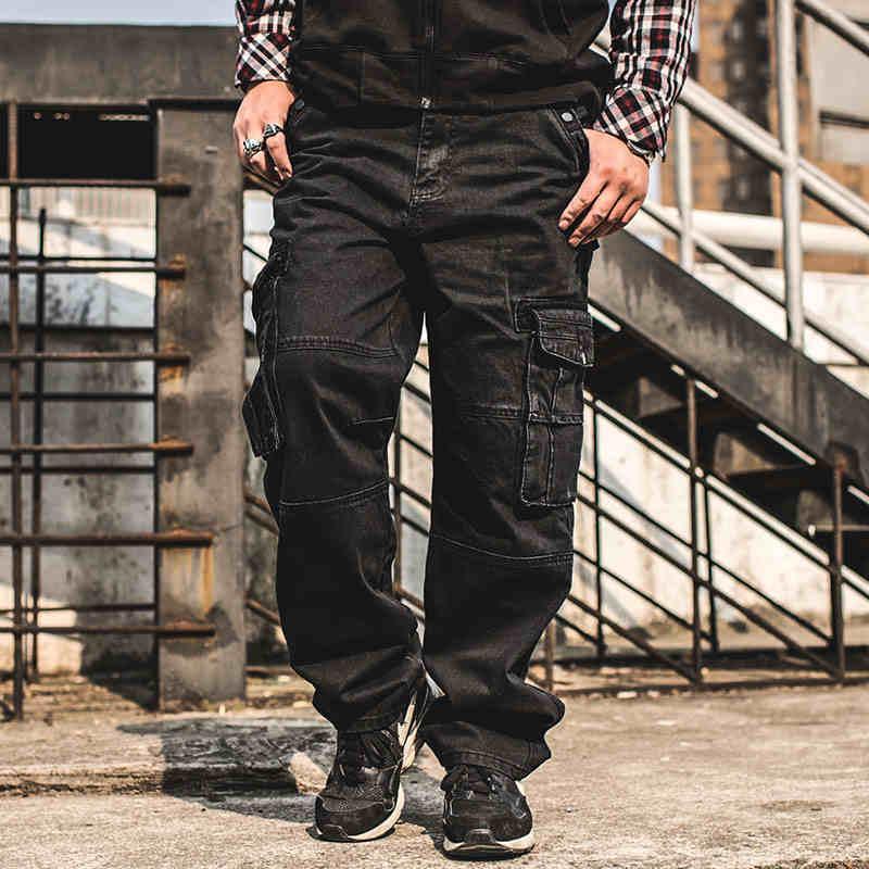 Más el tamaño 46 44 42 40 38 pantalones vaqueros para hombre carga con la carga de bolsillo holgados pantalones de mezclilla Negro recto flojo jeans para hombres