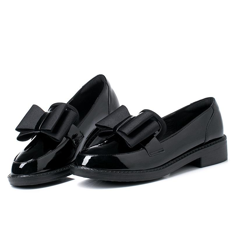 Women Leather Shoes Slip On Bow Flats Shoes Women Footwear Womens Loafers Shoes Vintage British Style Office Soft Pointy Flats