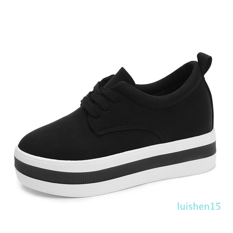Tangnest Spring Women Sneakers Flats Platform Lace Up Solid Round Toe Creepers Female Comfort Casual Fashion Shoes l15
