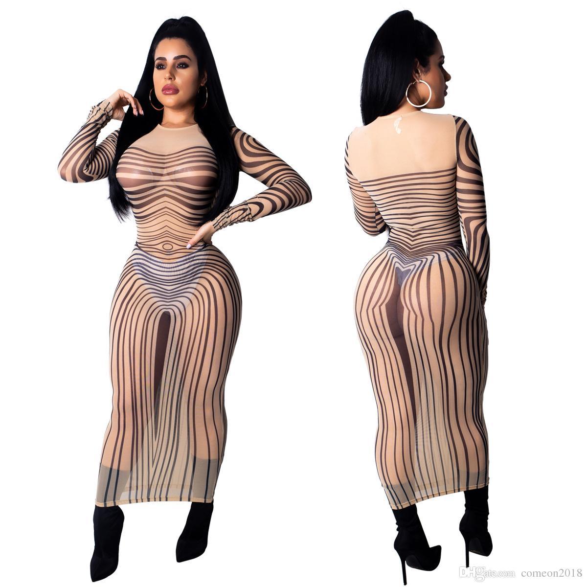 Großhandel Damen Kleidung Modedesigner Party Kleid Bodys Kleider Damen Sexy  Party Bodycon Nachtclub Durchsichtig Gestreifte Kleider Vestidos Von