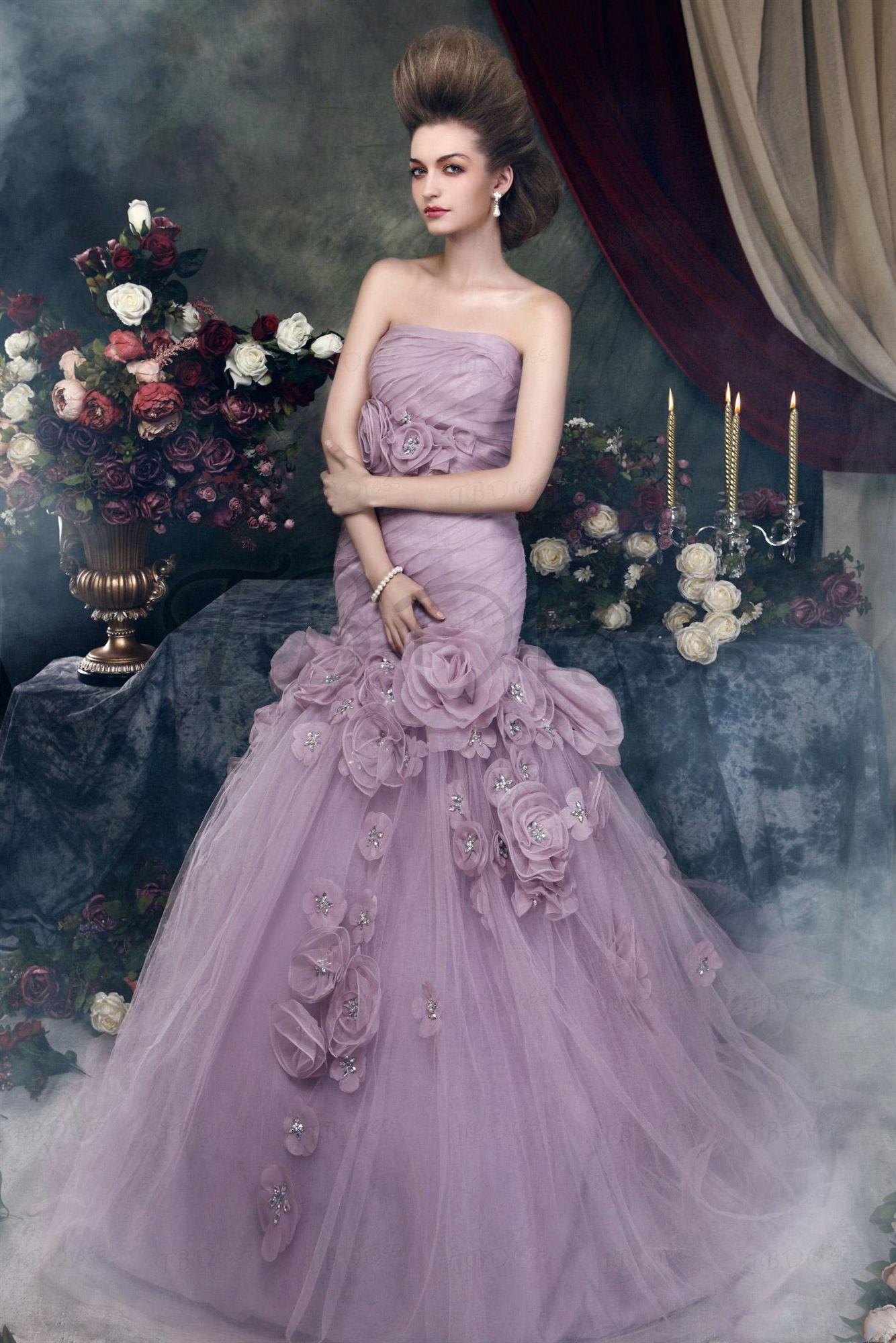 Sirène Longue Robes De Mariée Lilas 2019 Nouvelle Arrivée Sans Bretelles Fleurs Tulle Femmes Non Blanc Vintage Coloré Robes De Mariée Sur Mesure