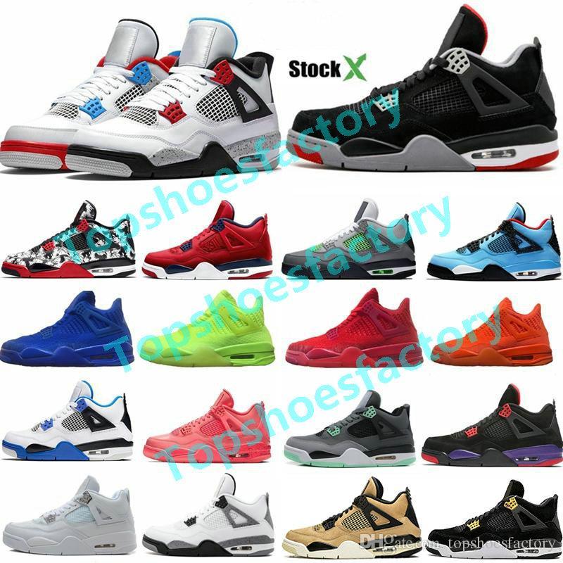 2020 Fiba Silt Red Splatter 4 4S jumpman أحذية كرة السلة الرجال bed كول رمادي الشبح أوريو الأبيض اسمنت رجل مصمم أحذية 36-47