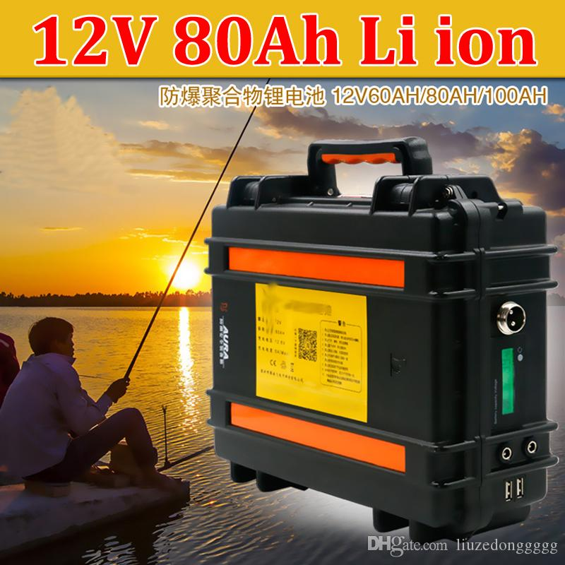 Wasserdichte 12V 80Ah Lithium-Ionen-Batterie 12V Li-Ion batteria USB-Anschluss für Wechselrichter Licht Backup-Stromfischen UPS + 10A Ladegerät