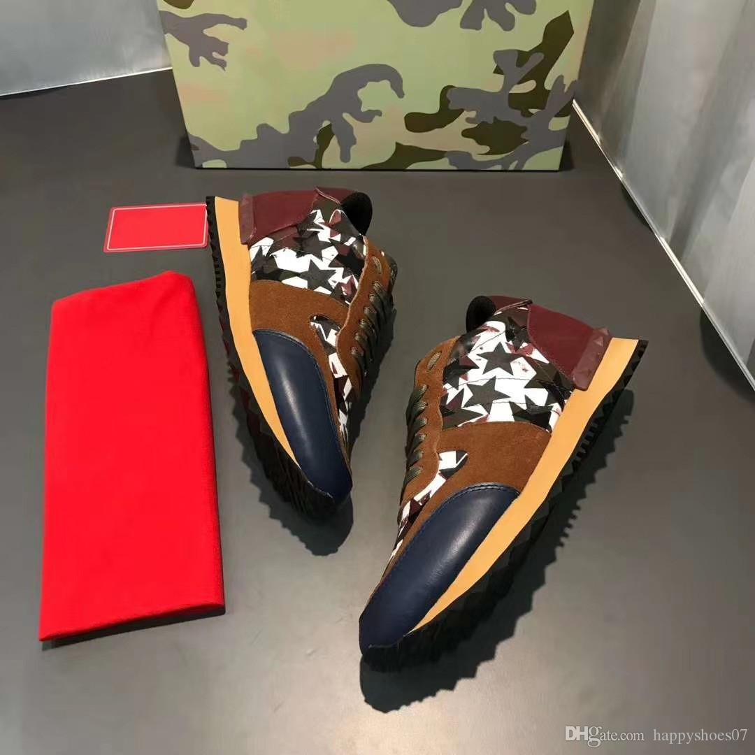 New Color Camo Suede Studded Camouflage Rocha Runner sapatilha sapatos para as mulheres Men Stud Casual Shoes Sapatilhas chaussures S6U