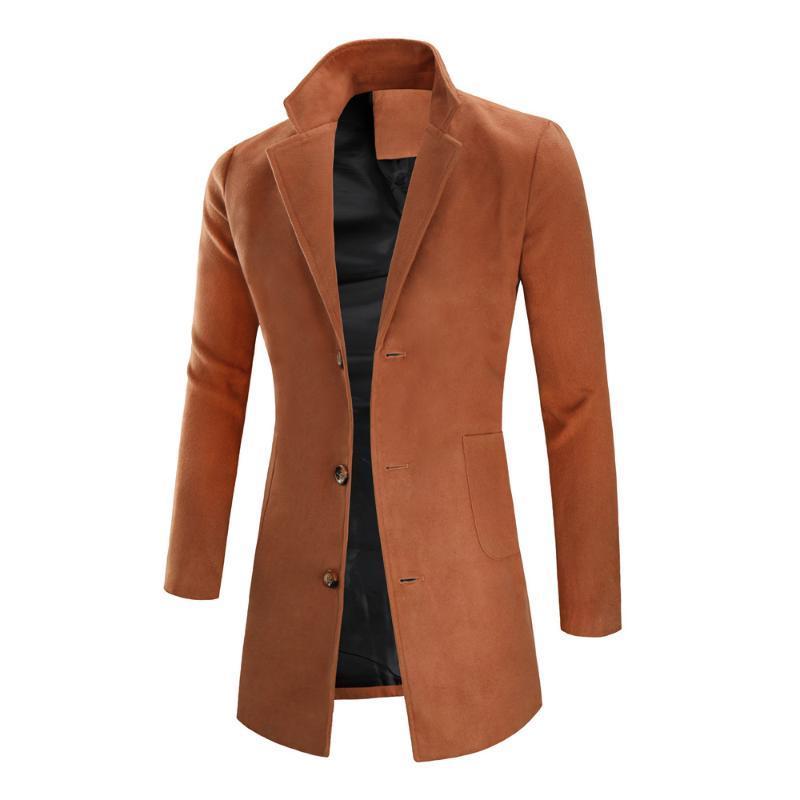 Men windbreaker men fashion mid-length woolen coat simple solid color lapel overcoat jacket single-breasted casual trench coat