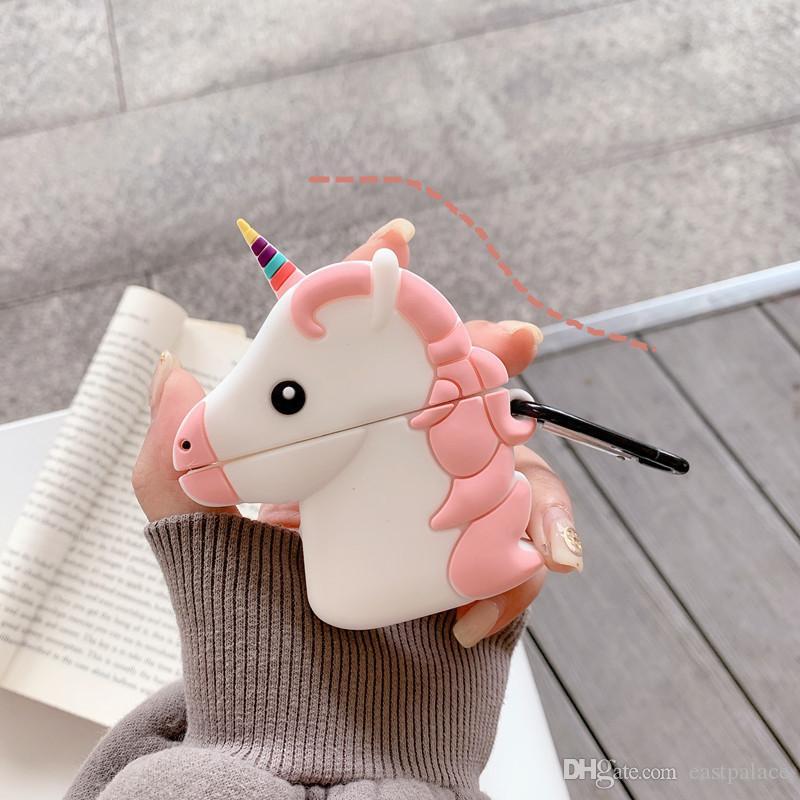 Silicon Mignon Mignon Unicorn 3D sans fil Bluetooth écouteurs cas pour AirPod 1er 2ème génération 1 2 Couverture Accessoires 300pcs