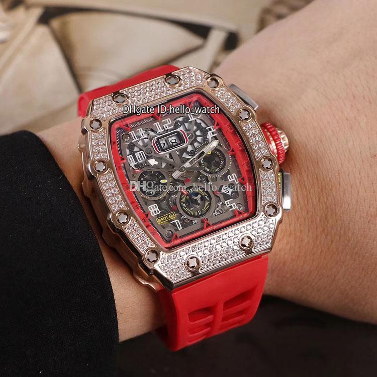 Nuovo RM11-03 diamante dell'oro della Rosa Cassa 11-03 Big Data Red Skelton interno Flyback Chrono Automatic Watch Mens Red Rubber Watches Hello_watch