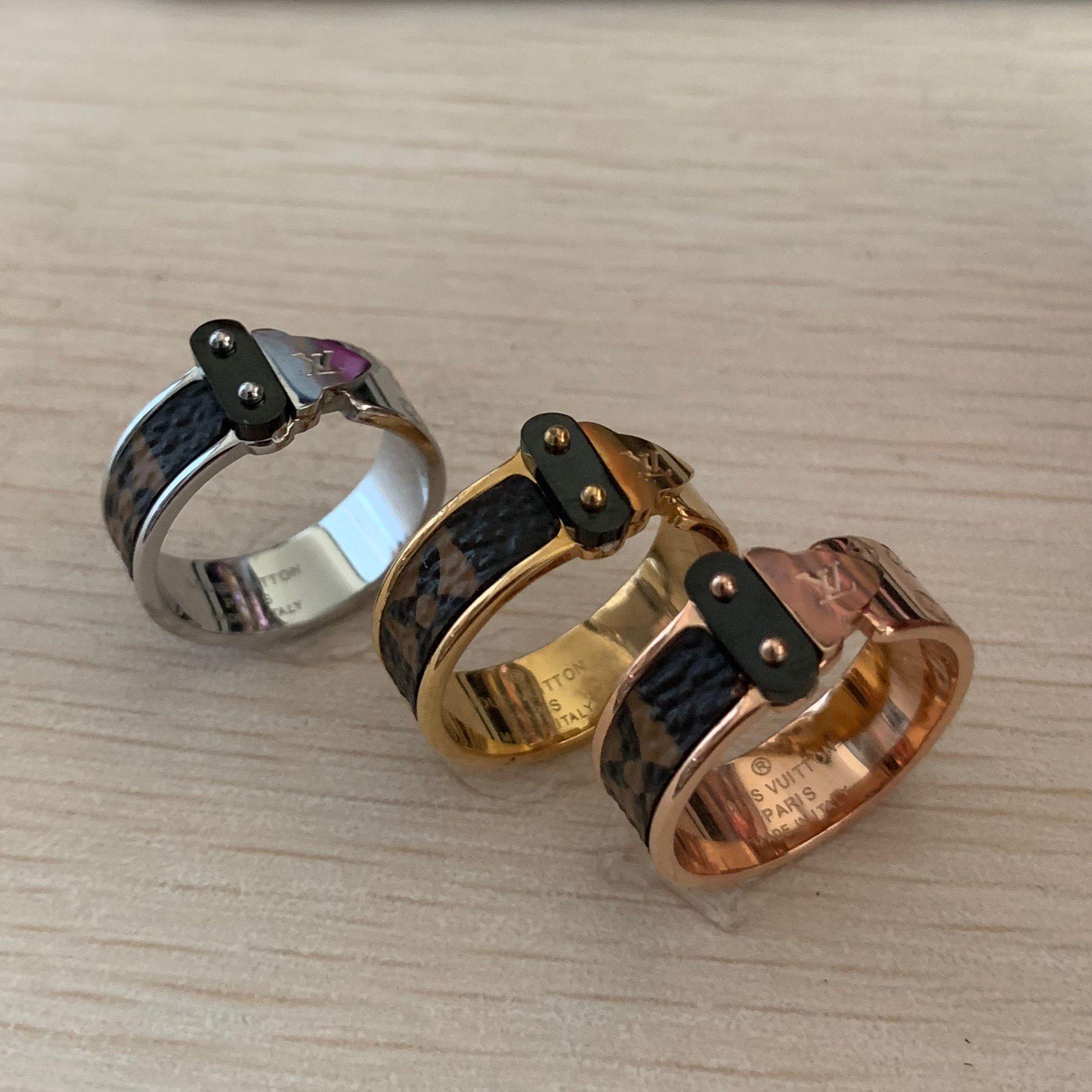 Alta qualidade 316 L de aço titânio ouro rosa 18K ouro, prata seta da carta de amor anel de casamento anel de flor de couro para mulheres dos homens