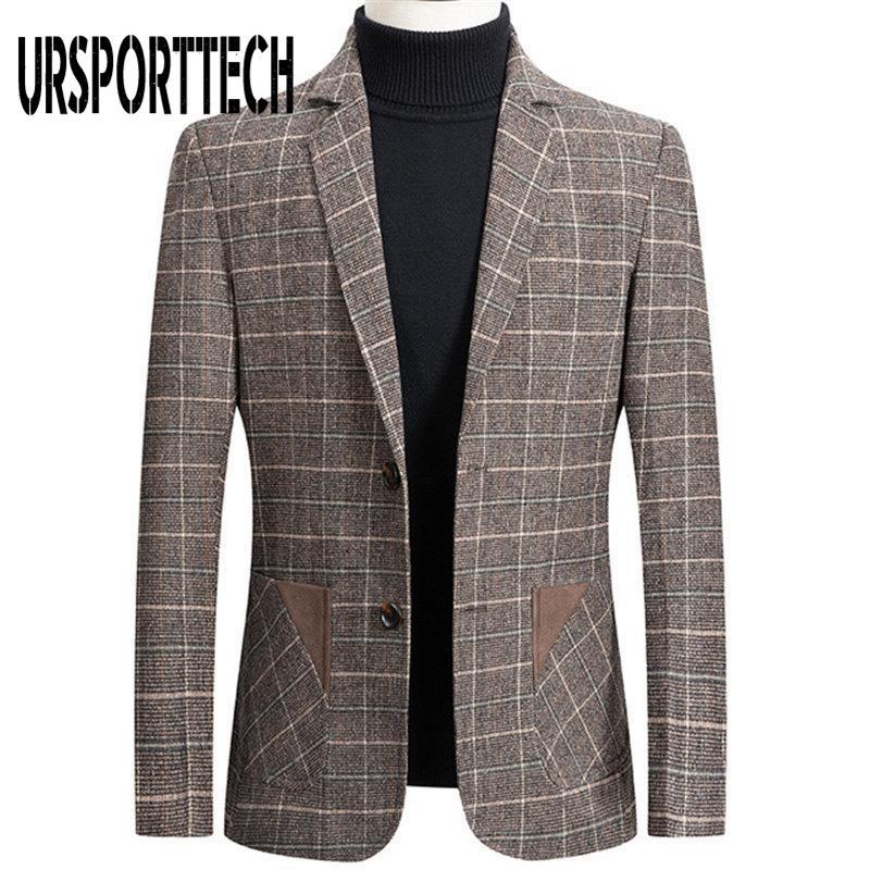 Ternos dos homens Blazers Ursportech de Alta Qualidade Marca Mens Blazer Jaqueta Terno Moda Malaia Impressão Slim Fit Casaco Quente Masculino Plus Size
