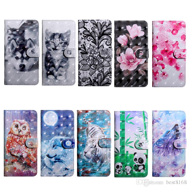 3D Leather Wallet Case For Iphone 12 Pro Max 11 XR XS 8 7 6 SE Galaxy S30 Ultra S21 + Flower Wolf Tiger Owl Lace Card Slot ID Magnetic Cover