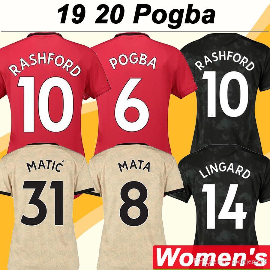 19 20 POGBA RASHFORD Women Soccer Jerseys MATA MARTIAL LINGARD Home Away 3rd Football Shirts New MATIC CARRICK Short Sleeve Lady Uniforms