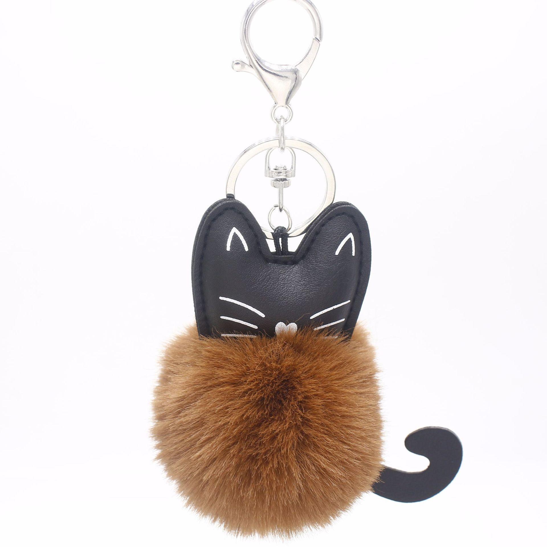 7color Personality Pure Color Plush Ball Fashion Mini Soft Stuffed Cat Plush Keychain Bag Xmas Pendants Ornaments Toy