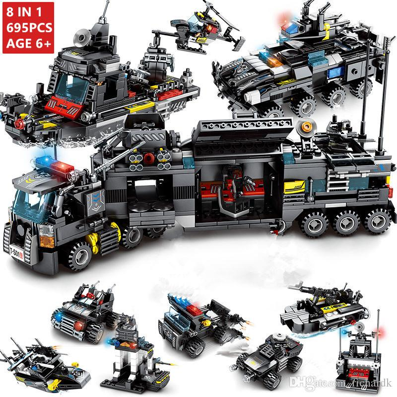 8Pcs/lot SWAT City Police Helicopter Truck Car Building Blocks LegoINGLs City Police Station Bricks Toys For Children Christmas Gifts