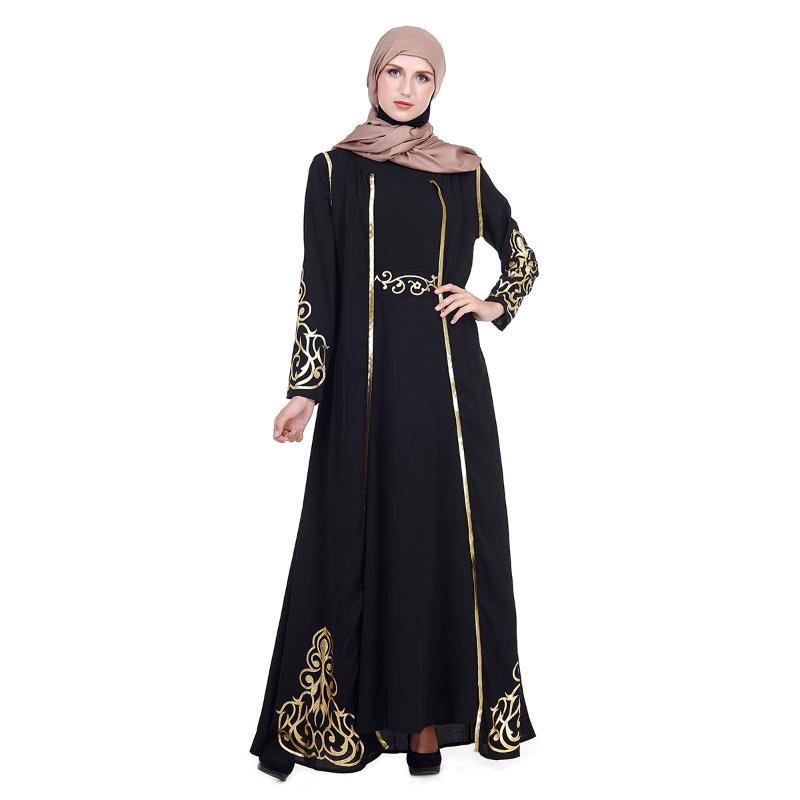 2019 Muslim-Kleid-Frauen islamische Kleidung marokkanische Kaftan Abayas Damen-lange Kaftans Robe Dubai 2 Stück Abaya Türkisch Kleidung