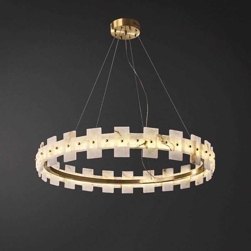 Nordic Luxury Gold marmo anello di rame Lampadario casa della decorazione di arte Pendant Light Living Lighting Lampada PA0621
