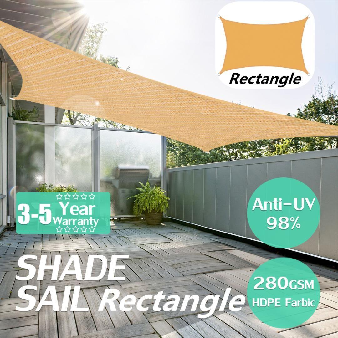 2x5m Heavy Duty Impermeabile Sun Base Sale Sail Outdoor Rettangolare Tenda a baldacchino Giardino Tenda Tenda Sole Rifugio