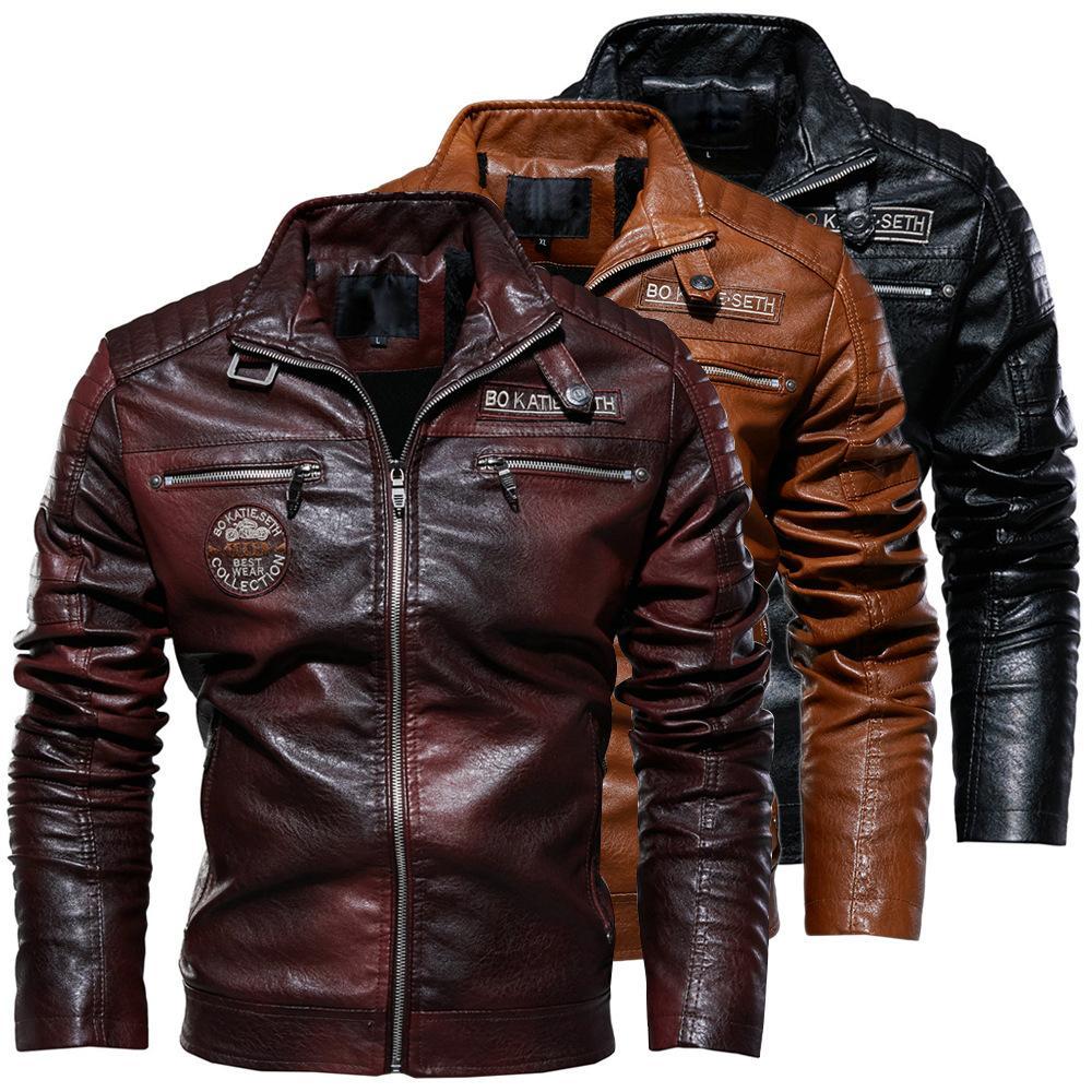 Зимняя мужская кожаная куртка pu кожаная куртка персонализированные мотоцикл одежда современный жесткий человек и замша пальто мужчины теплое пальто