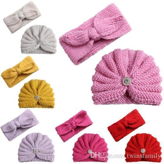 Bébé Bonneterie Chapeaux Bandeau Ensembles Filles Laine Casquettes Crâne Bonnet Bandeaux hiver Kids Crochet Hat Cap Outdoor Coiffures Accessoires cadeau C6824