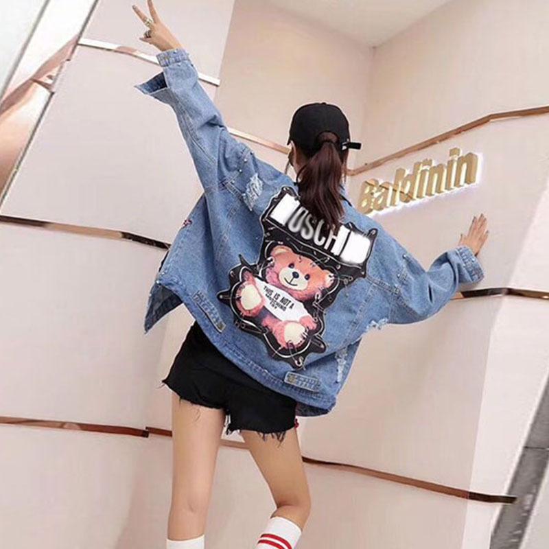 Kadınlar Denim Ceket 2019 Payetler İnciler Punk Batwing Sleeve Kot Ceket kadın Gevşek Vintage Streetwear Kadın Ceket Coat Y200101