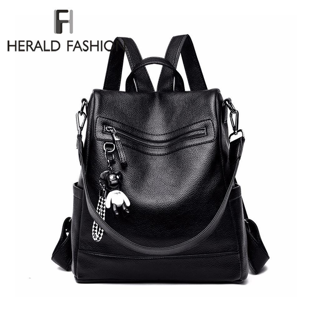 Herald Mode Frauen-Rucksack für Schule-Art-Leder-Schüler-Tasche für College-einfache Entwurfs-Frauen-beiläufigen Tag Pack