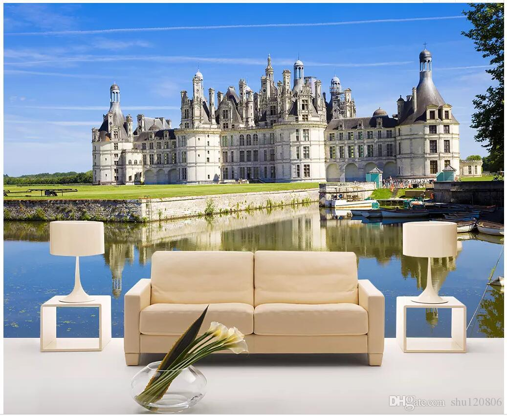 WDBH 3d wallpaper custom photo Lakeside White Fort HD Landscape painting living room home decor 3d ...