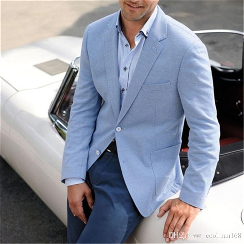 Brand New Light Blue Mens Hochzeit Smokings Kerbe Revers Groomsmen Smokings Beliebte Man Blazers Jacke Ausgezeichnete Anzug (Jacket + Pants + Tie) 42