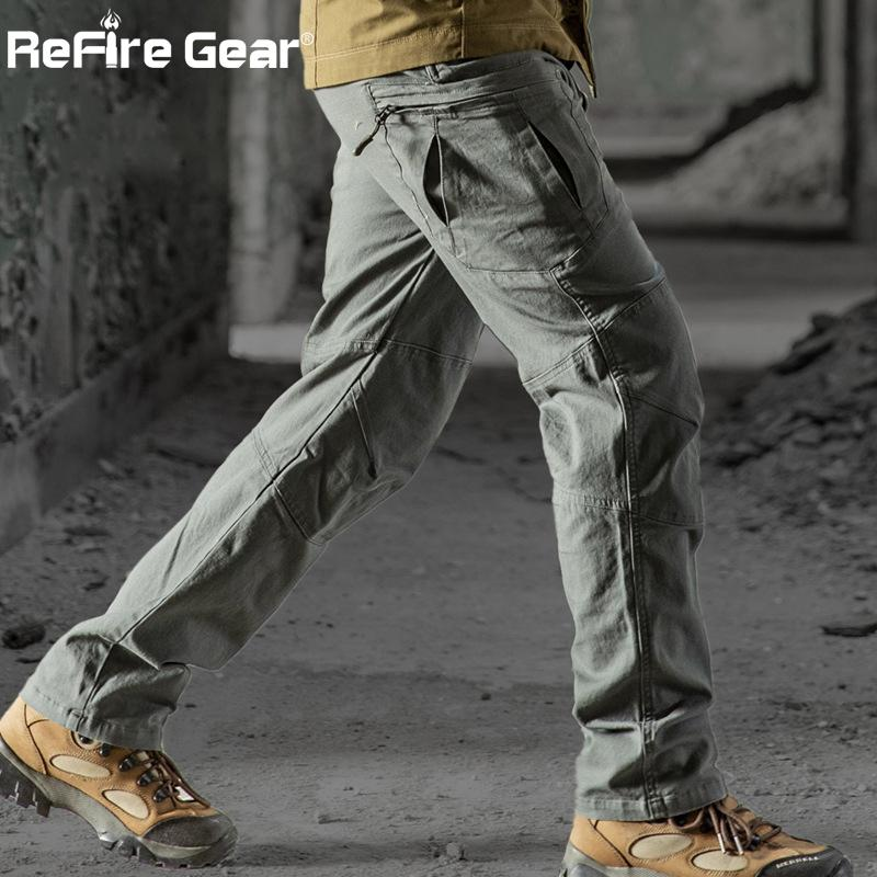 ReFire Gear 2019 Military Tactical Cargo Pants Men SWAT Combat Rip-Stop Many Pocket Army Trouser Stretch Cotton Casual Work Pant MX200323