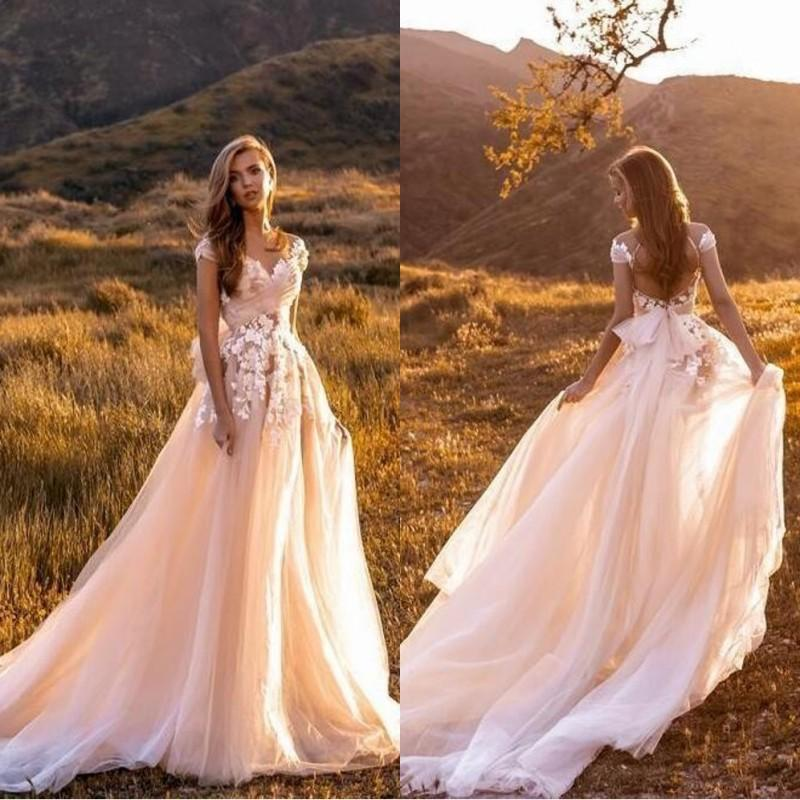 3D Floral Lace beach Wedding Dresses Sexy Capped Sleeves Lace Appliques Summer Garden Boho Tulle Plus Size Country Style Bridal Gowns