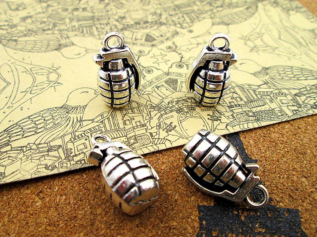 15pcs Grenades encanto de prata tom 3D Grenades pingentes charme 22X13X12mm