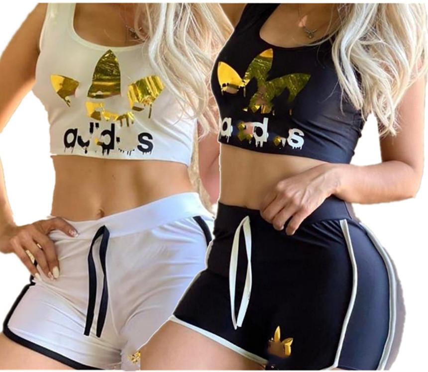 abbigliamento casual a due pezzi t-shirt senza maniche sexy set + mini shorts estate donne di marca Sweatsuit rifornisce colore solido jogger tuta 3371