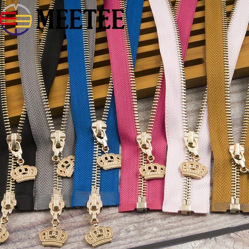 Meetee 120 centímetros 5 # coroa de metal Zipper Eco-friendly Brasão Casacos Zippers para costura roupa Ziper DIY Craft KY964 Open-end