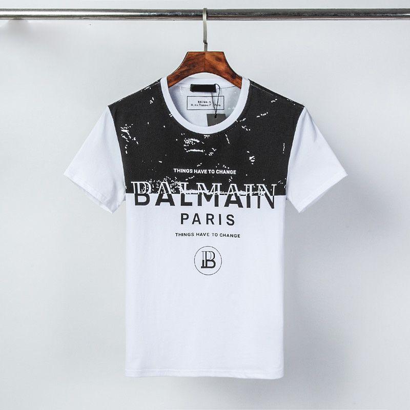2020 printemps et en été nouveau noir chemise blanche T-shirt col rond panneau à manches courtes en coton de haute qualité d'impression EGM25