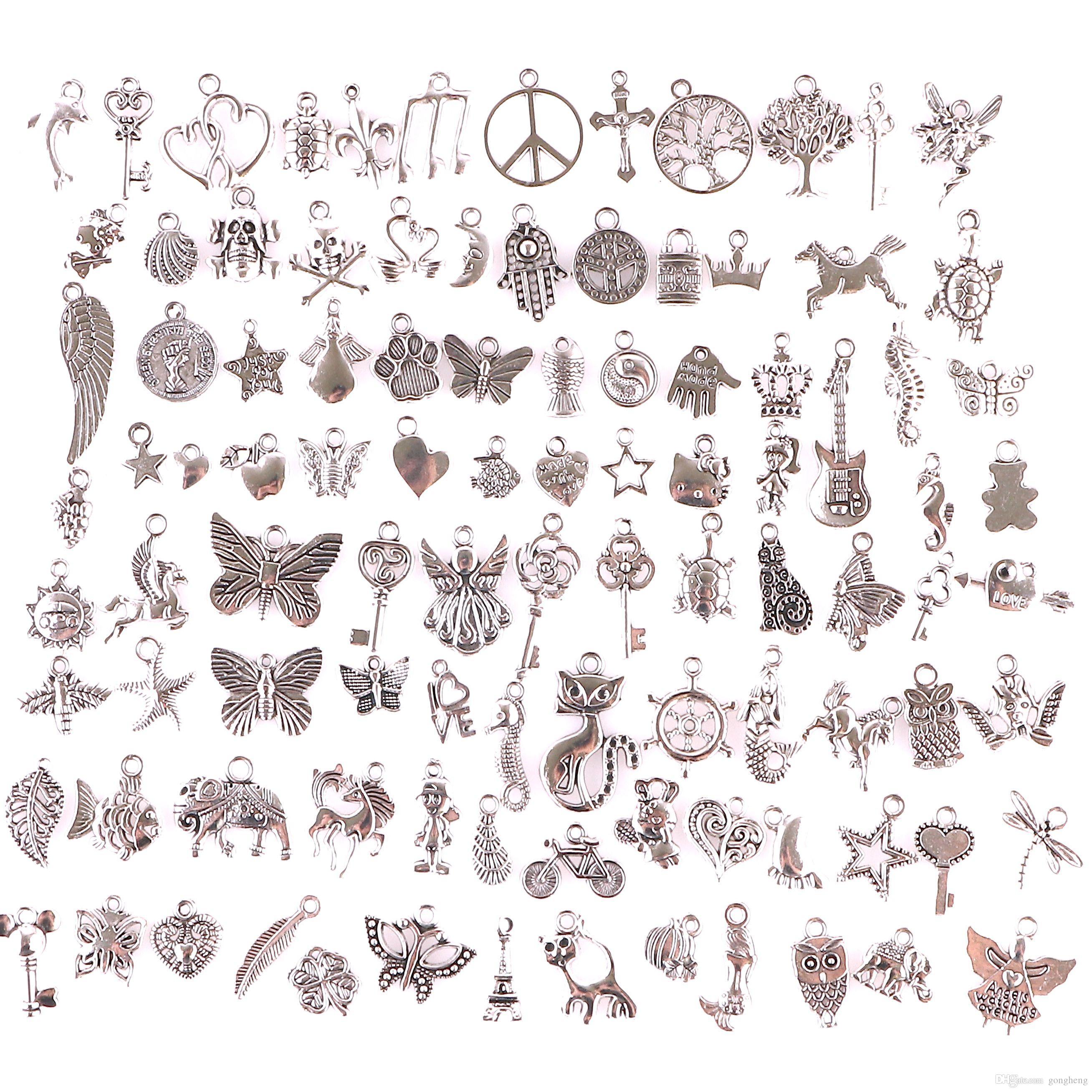 23210 100шт Mix Растительные животных Ключевые Подвески Урожай старинное серебро Мини сплав Подвеска DIY Изготовление ювелирных изделий