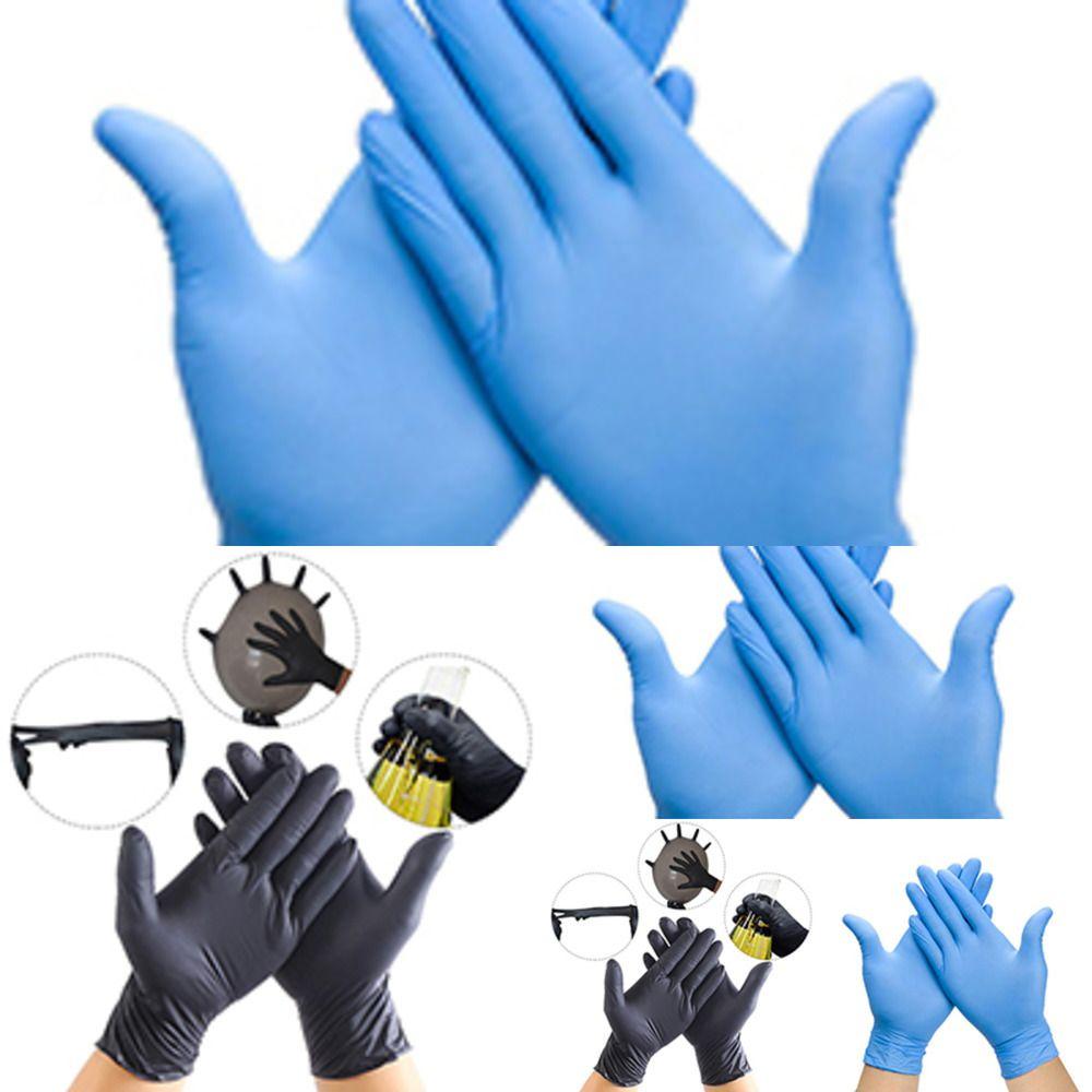 100 Latex Disposable Nitrile T Pcs/lot Gloves Black/blue Waterproof Kitchen/dish Washing/g 1EMXW