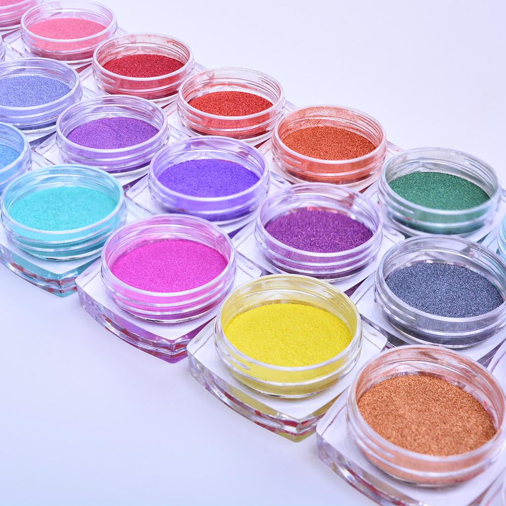 Art Glitter 5 caixas Magic Mirror Glitter prego Chrome Pigment Shell Dazzling DIY Salon Micro Holographic Pó Nail Art Decoração Mani ...