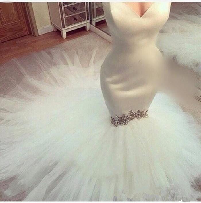 New Arrival 2019 Sweetheart Strapless Vestido De Novia Satin Top Tiered Tulle Skirt Custom made Mermaid Wedding Dresses