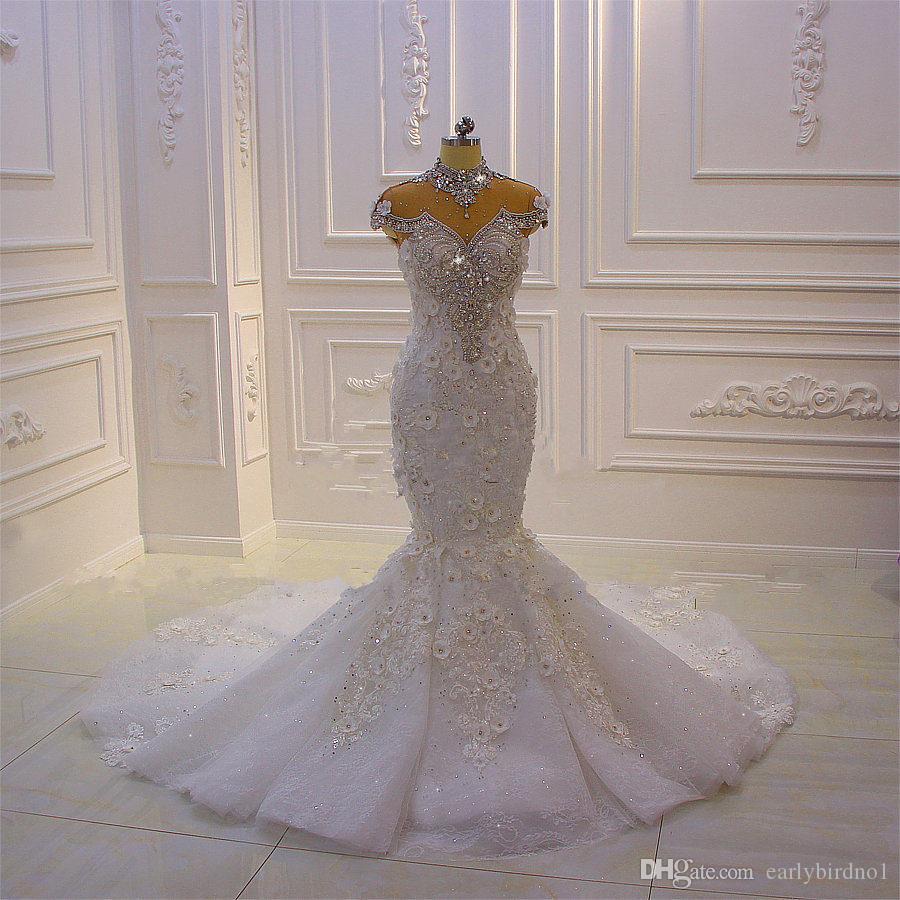 Luxury High Neck Crystal Beaded Mermaid Wedding Dress Vintage Arabic Dubai 3D Flowers Plus Size Bridal Gown